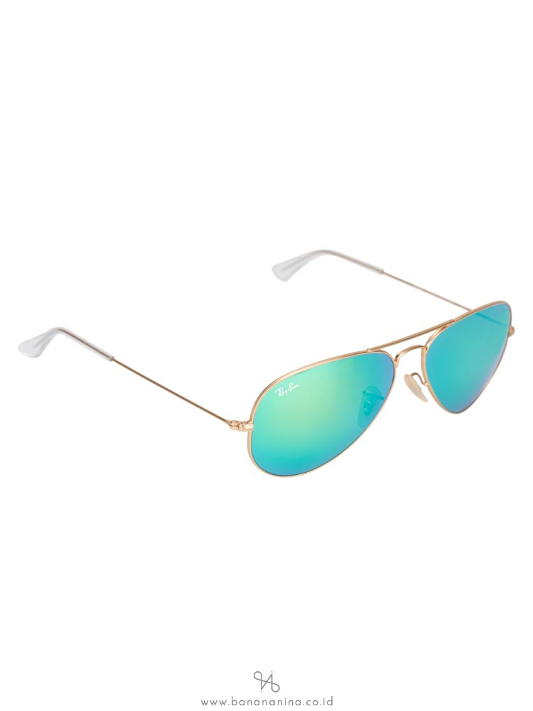 RAY-BAN RB3025 Aviator Sunglasses Mirror Green Gold