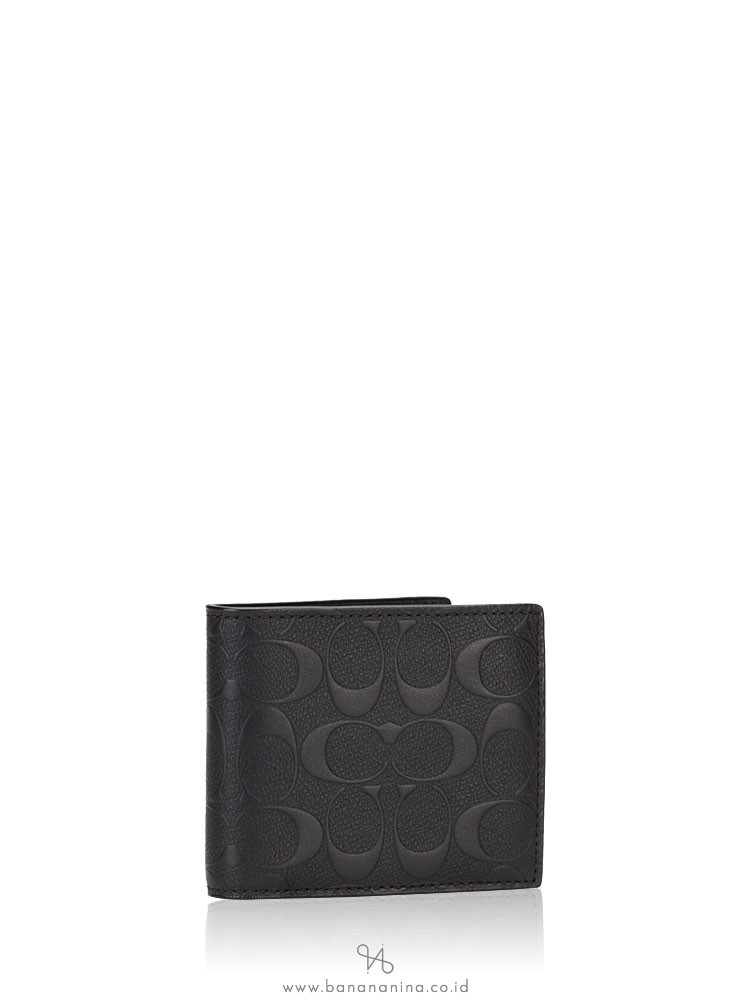 COACH Men 75371 Compact ID Embossed Leather Wallet Black