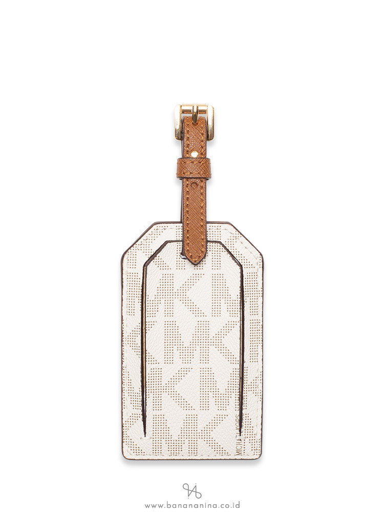 MICHAEL KORS Jet Set Travel Monogram Luggage Tag Vanilla Acorn