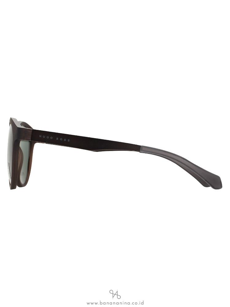 HUGO BOSS 0869S Polarized Vintage Round Sunglasses Brown Matte