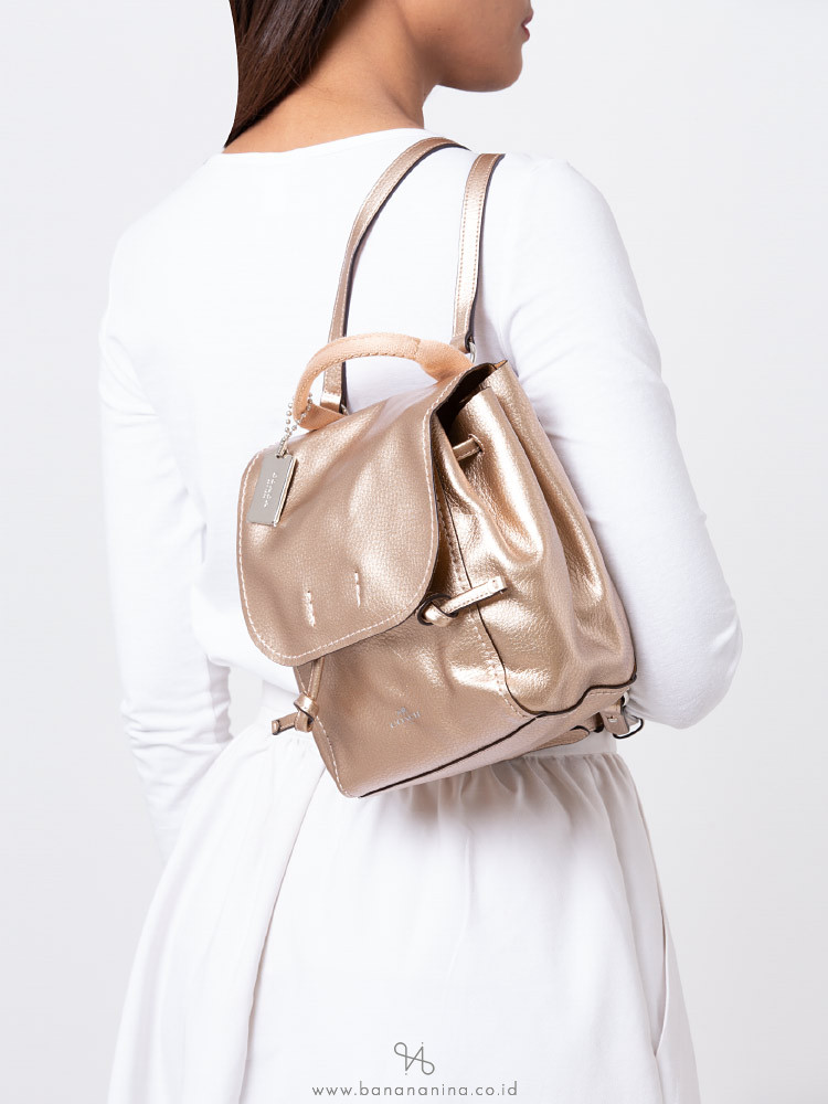 COACH 16605 Metallic Derby Leather Backpack Rosegold