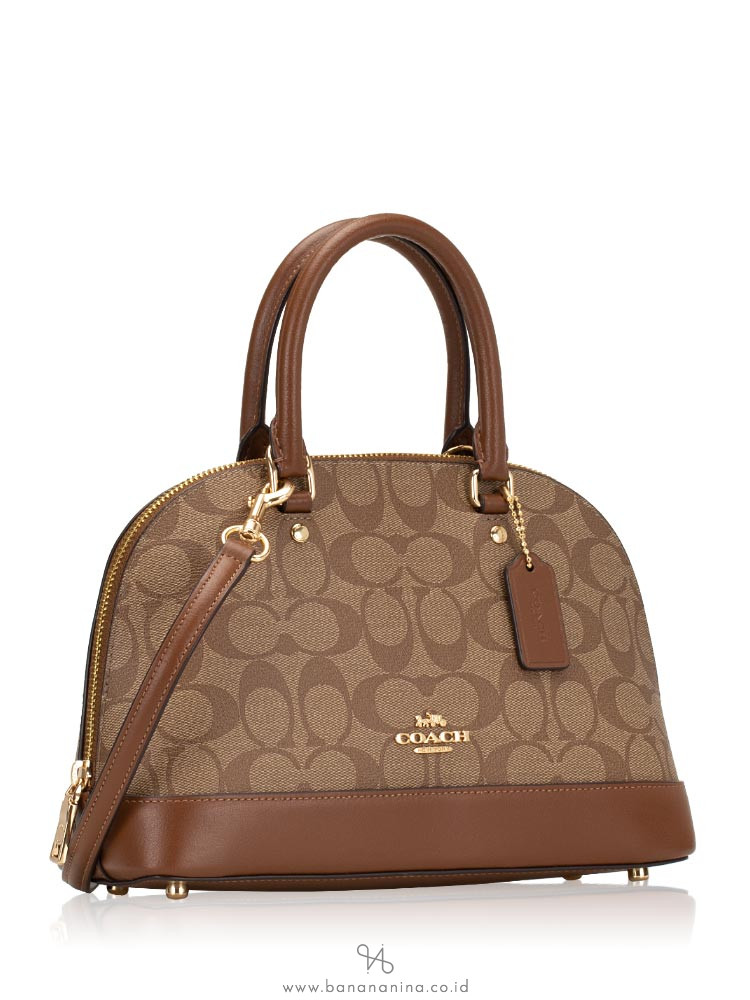 COACH 27583 Signature Mini Sierra Satchel Khaki Saddle