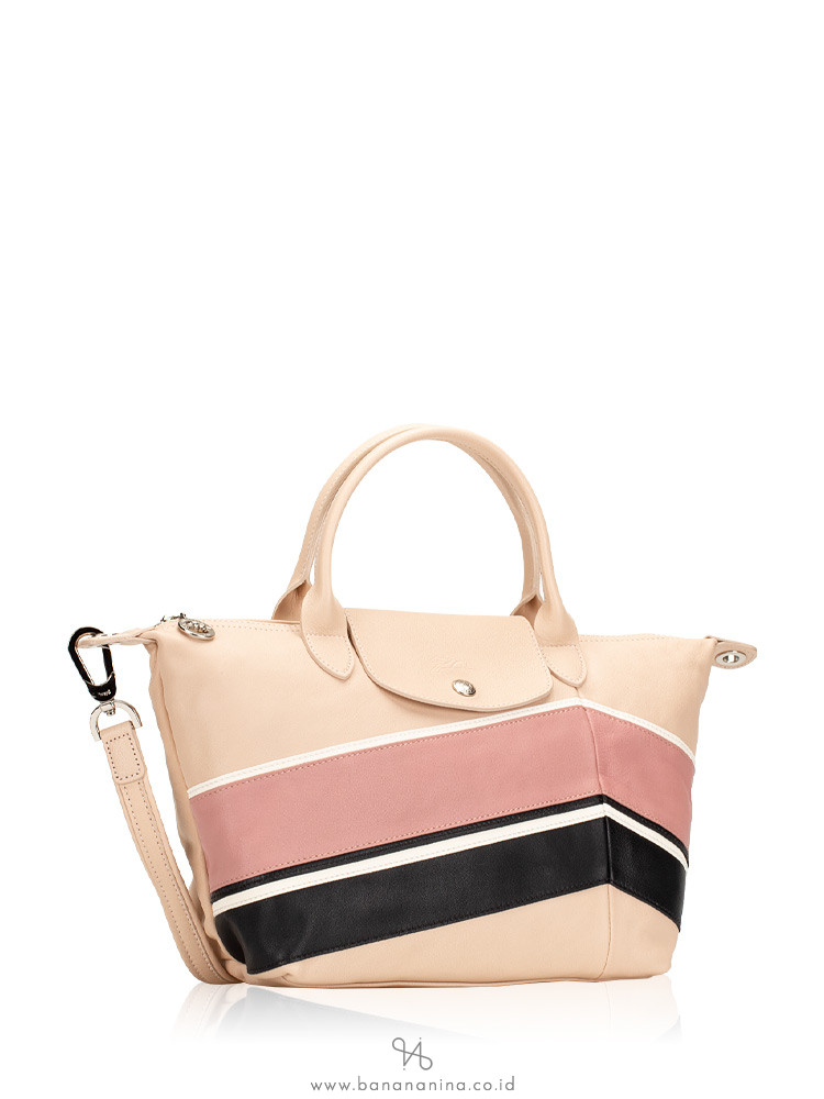LONGCHAMP Le Pliage Cuir Chevron Small Top Handle Petal