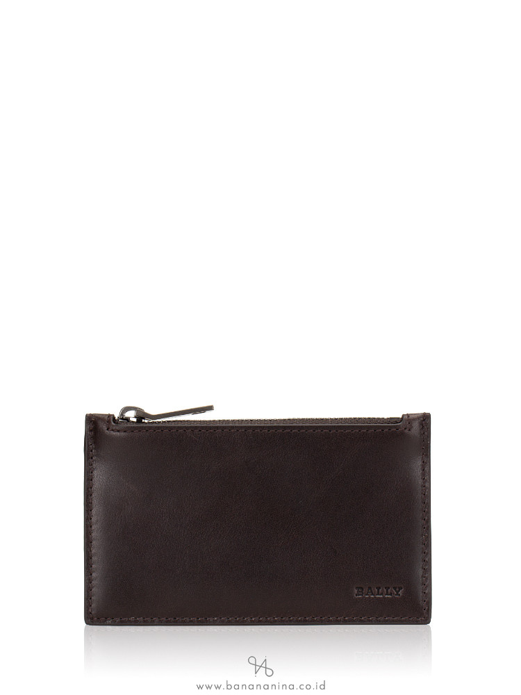 BALLY Tenley Leather Zip Card Holder Brown