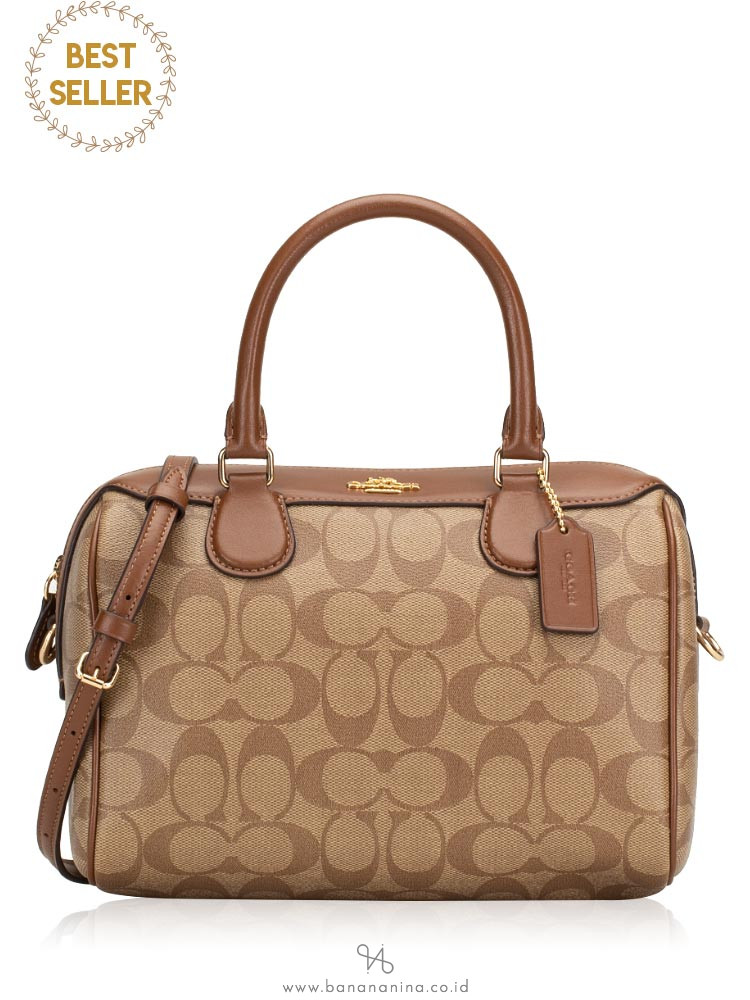 COACH 32203 Signature Mini Bennett Satchel Khaki Saddle