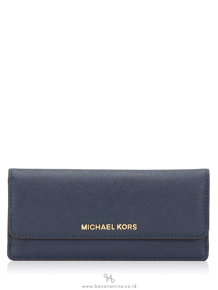 MICHAEL KORS Jet Set Saffiano Slim Flat Wallet Navy