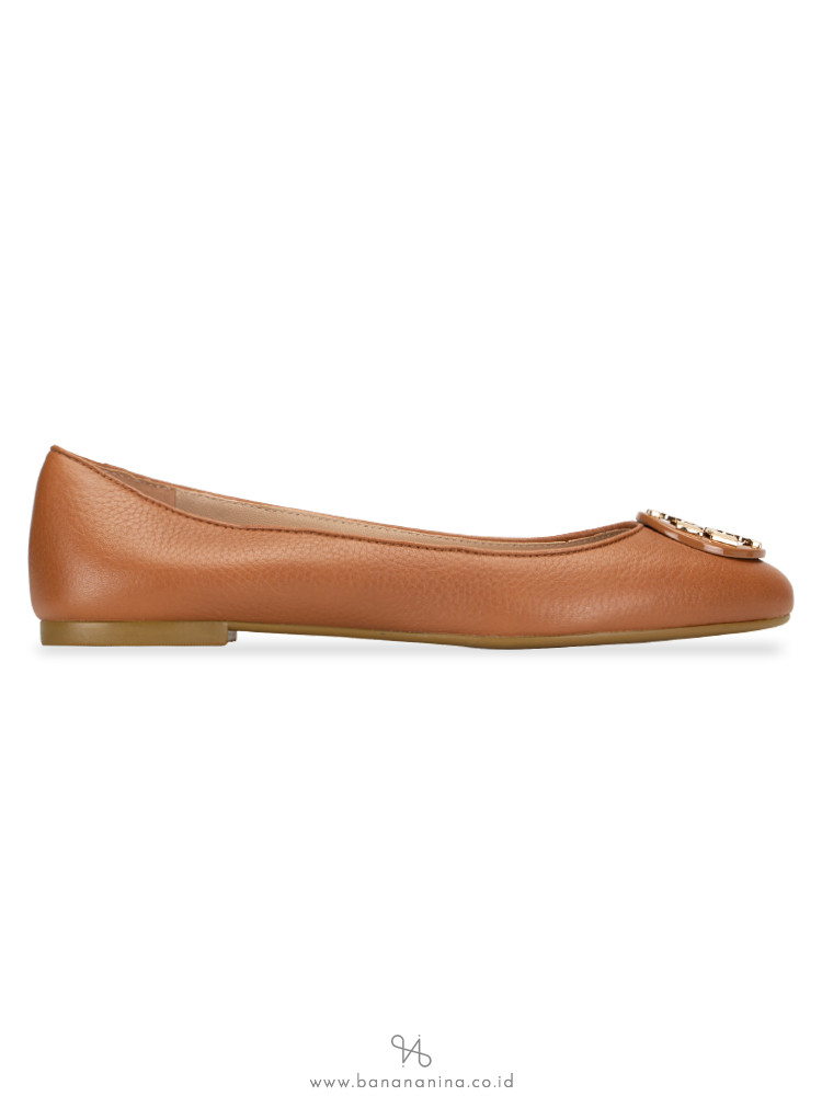 TORY BURCH Claire Tumbled Leather Flats Royal Tan Sz 7.5