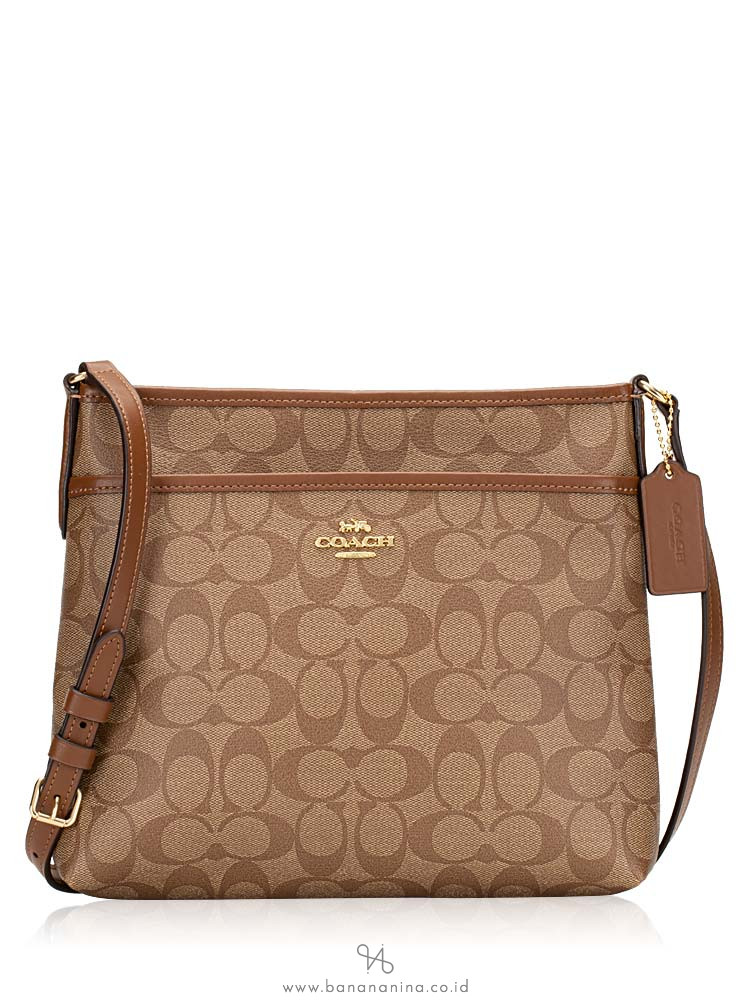 COACH 29210 Signature File Crossbody Khaki Saddle
