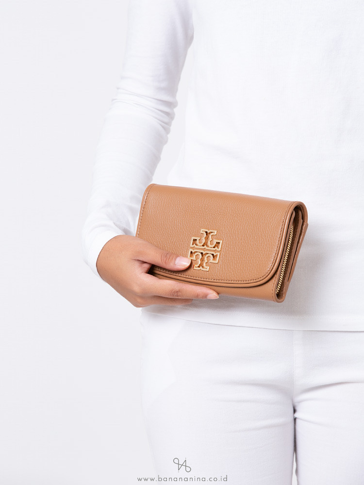 TORY BURCH Britten Duo Leather Envelope Wallet Bark