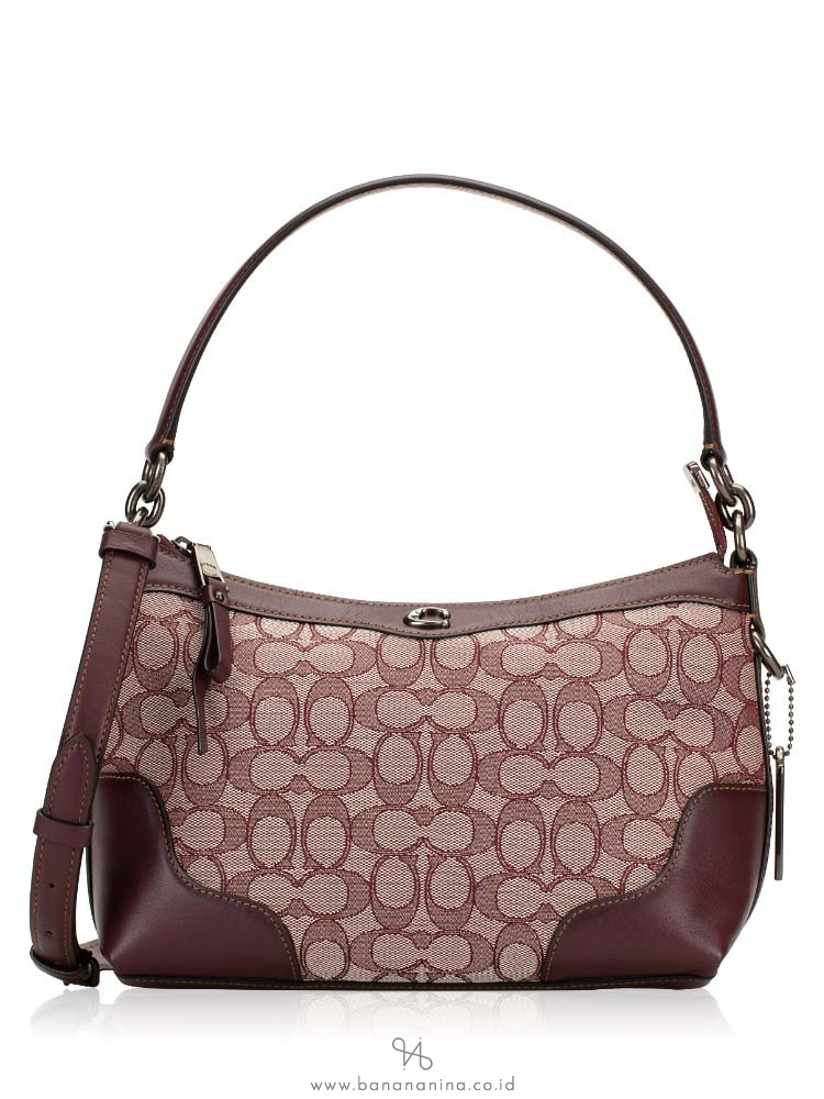COACH 46285 Signature Ivie Small Shoulder Bag Raspberry Black Antique