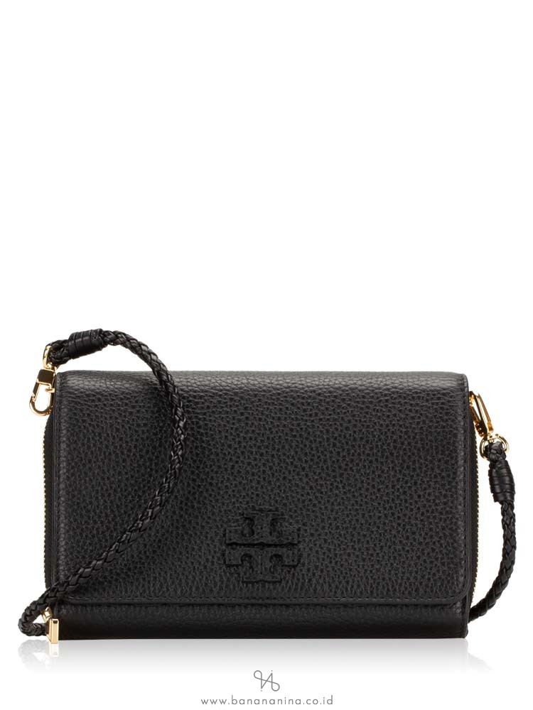 TORY BURCH Taylor Leather Flat Wallet Crossbody Black
