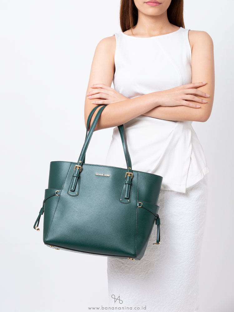 MICHAEL KORS Voyageur Leather Tote Racing Green