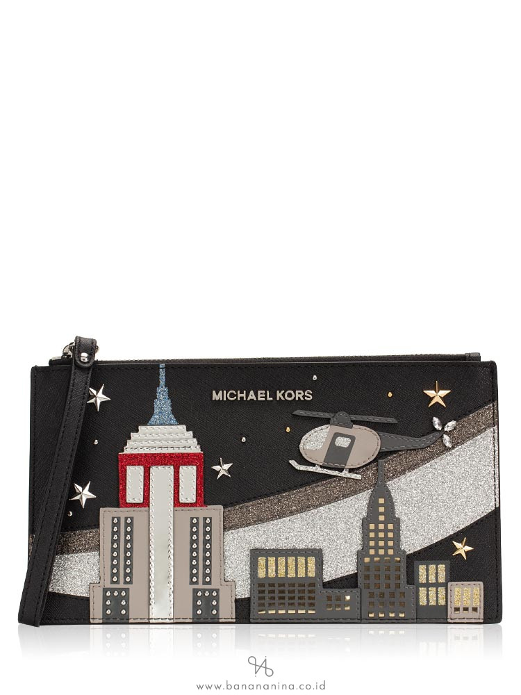 MICHAEL KORS Jet Set Nouveau Novelty XL Zip Clutch Black