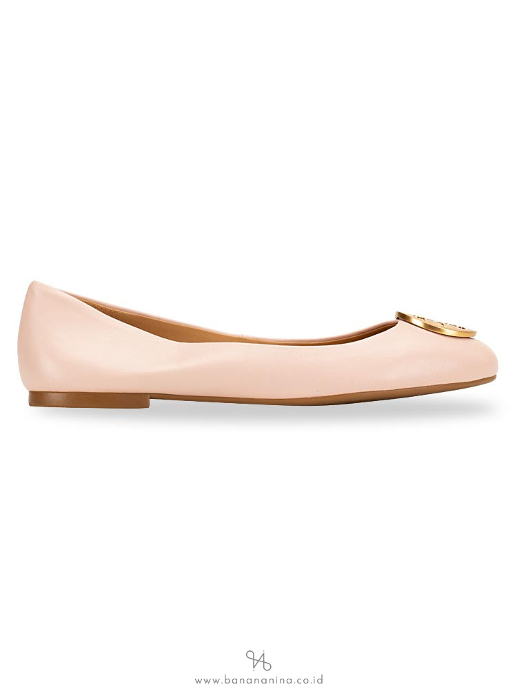 TORY BURCH Benton Leather Flats Sea Shell Pink Sz 9