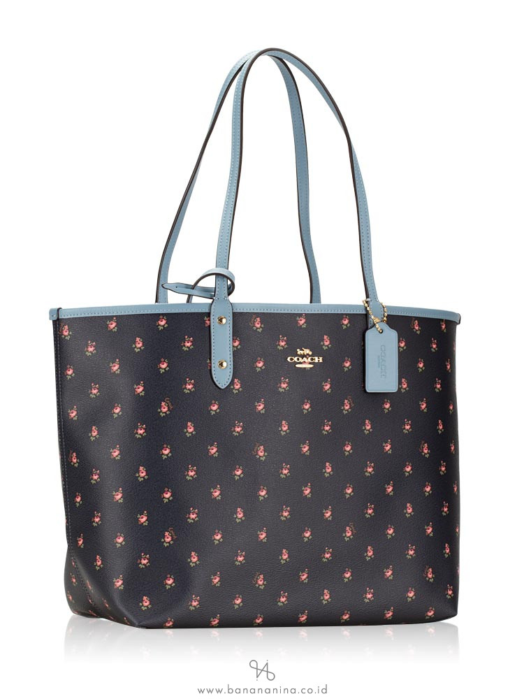 COACH 66926 Floral Ditsy Print Reversible Tote Midnight Cornflower