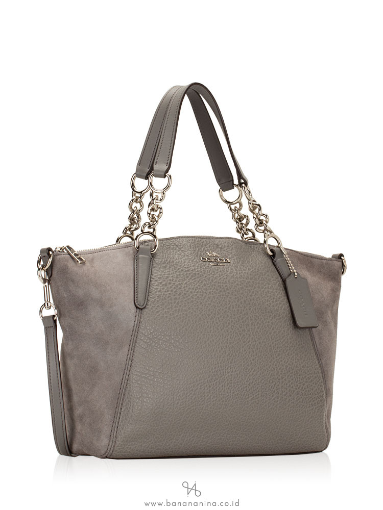 COACH 31410 Mixed Leather Small Chain Kelsey Heather Grey