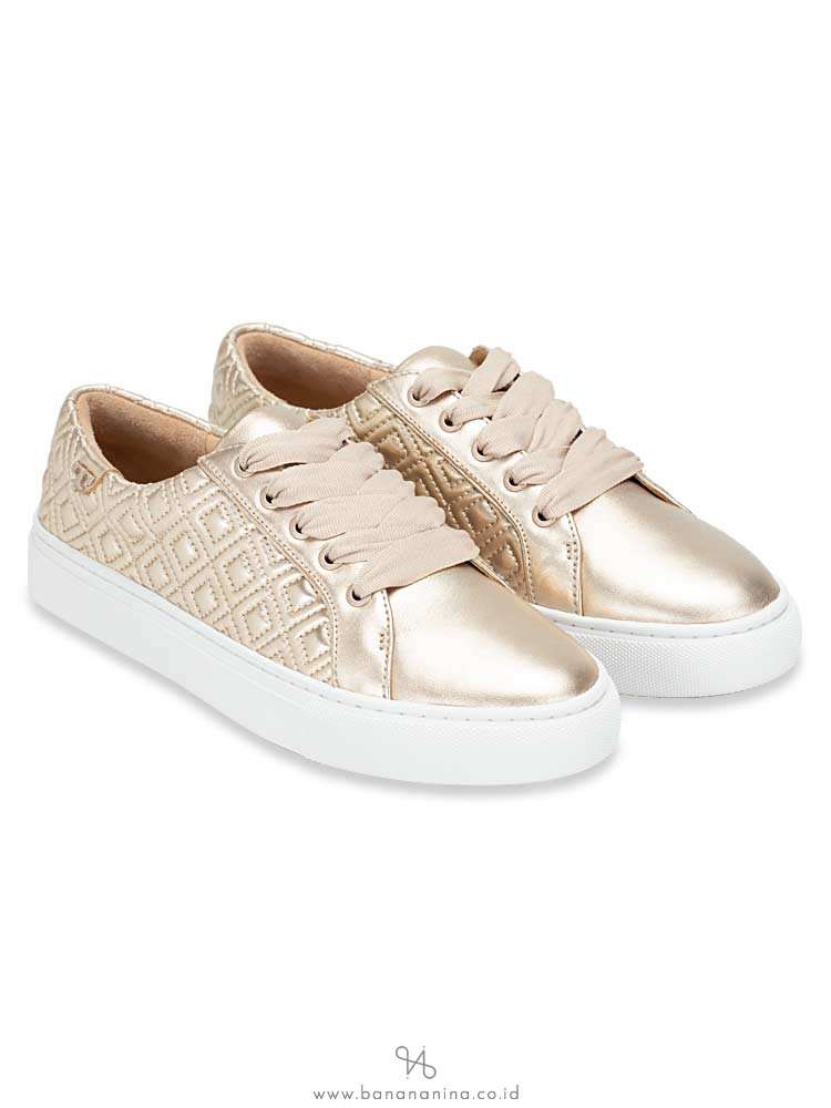 TORY BURCH Marion Quilted Lace Up Sneaker Rosegold Sz 7.5