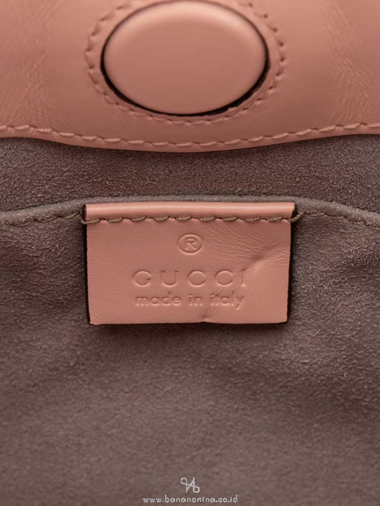 GUCCI Nymphaea Leather Bamboo Top Handle Bag Pink