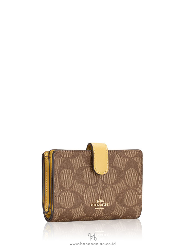 COACH 23553 Signature Medium Wallet Khaki Sunflower