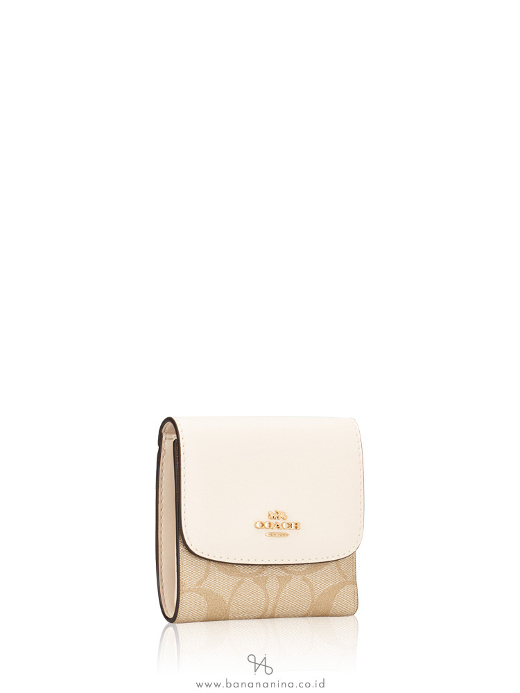 COACH 87589 Signature Soft Leather Small Wallet Light Khaki Chalk
