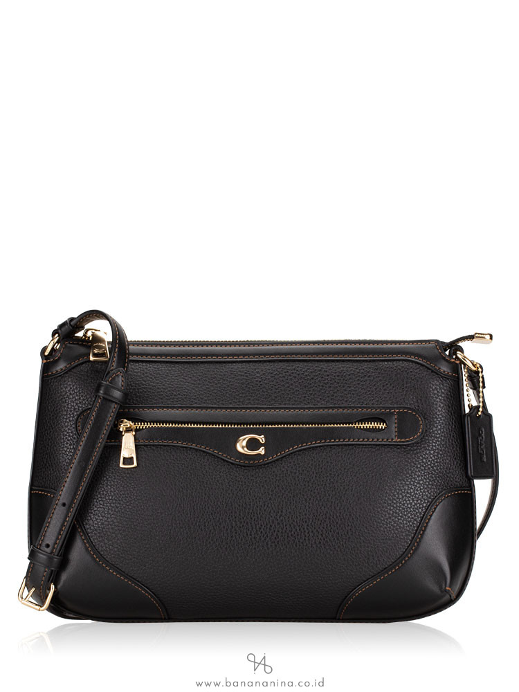 COACH 72839 Ivie Leather Messenger Black