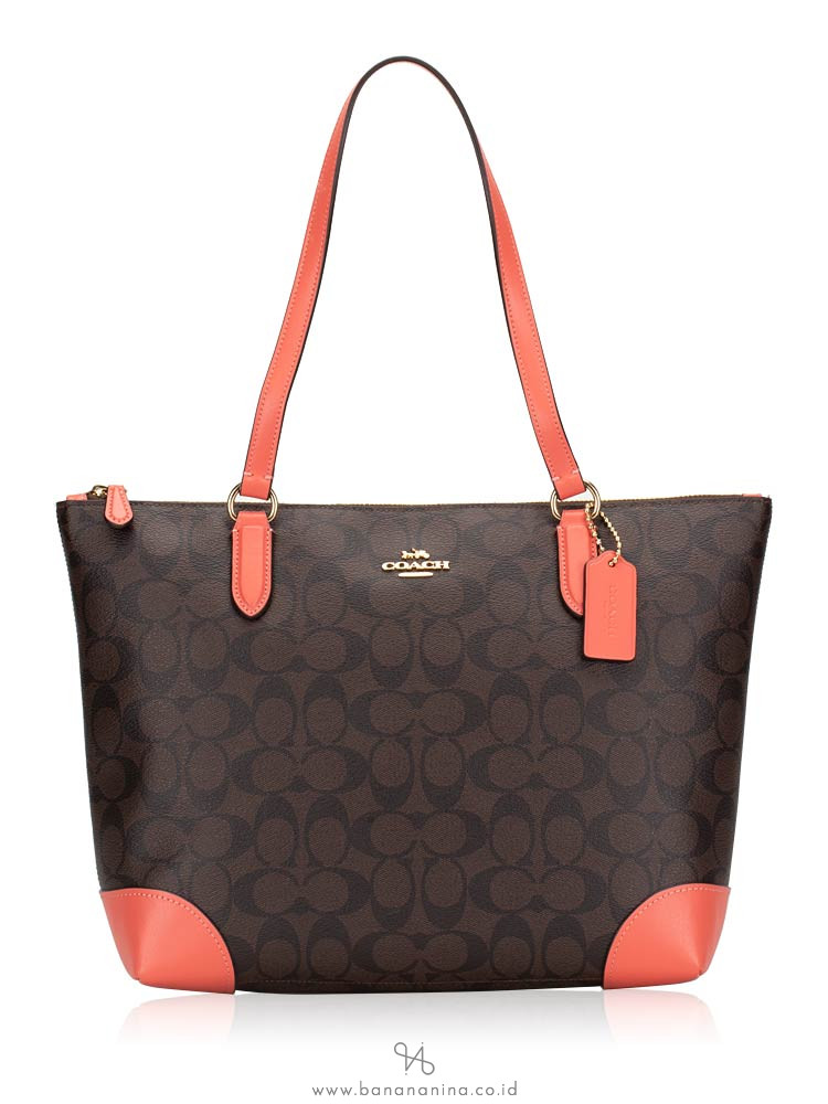 COACH 29208 Signature Zip Tote Brown Coral