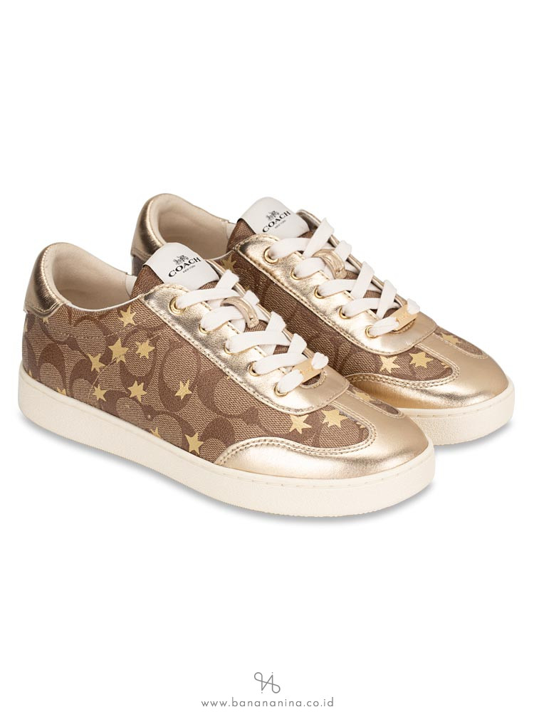 COACH C116 Signature Star Sneakers Khaki Gold Sz 7