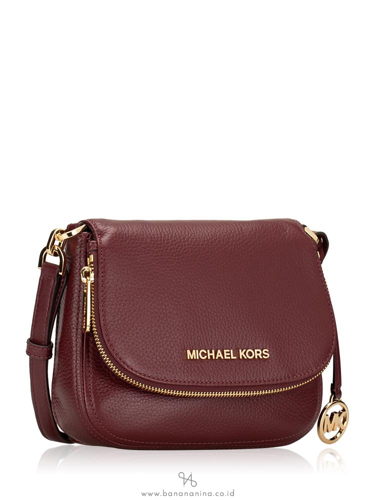 MICHAEL KORS Bedford Small Leather Flap Crossbody Merlot