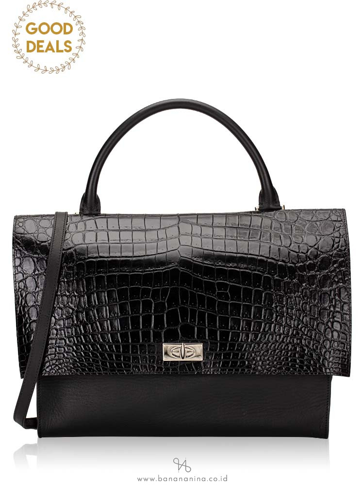 GIVENCHY Croc Stamped Leather Medium Shark Lock Satchel Black