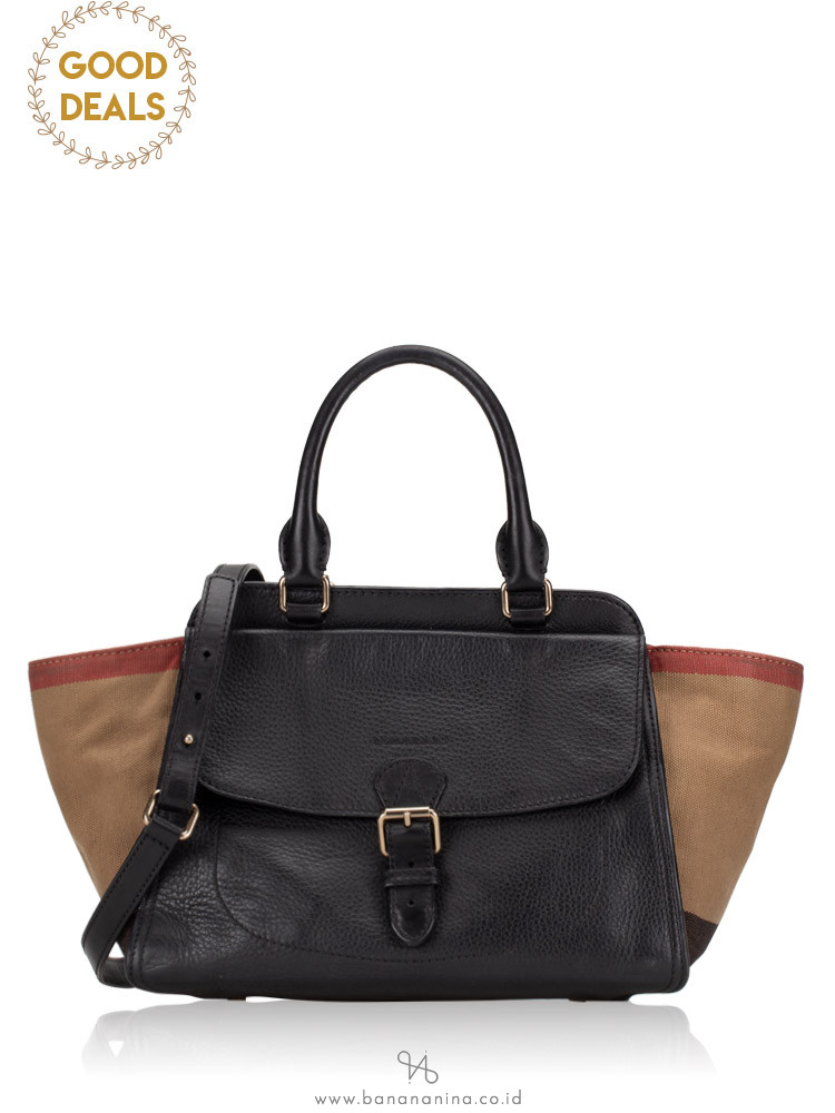 BURBERRY Check Medium Harcourt Satchel Black