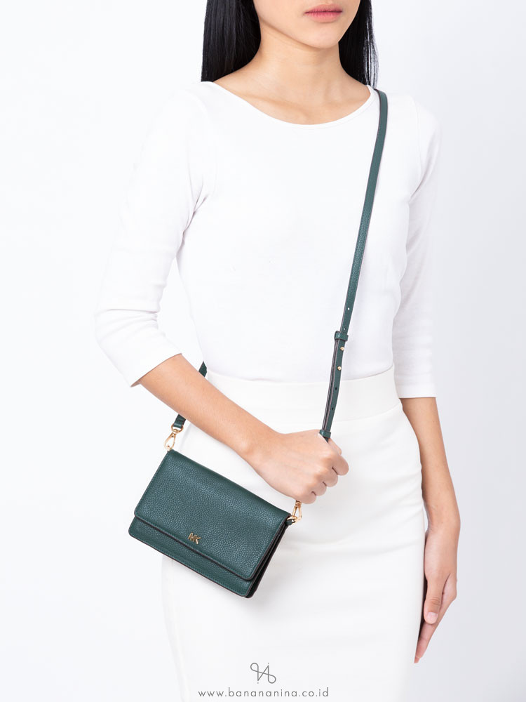 MICHAEL KORS Pebbled Leather Phone Crossbody Racing Green