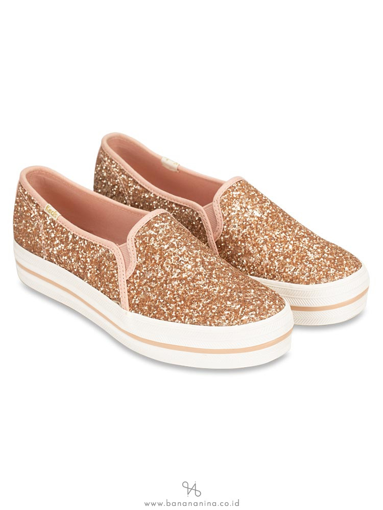KEDS X Kate Spade Triple Decker Glitter Rose Gold Sz 6.5