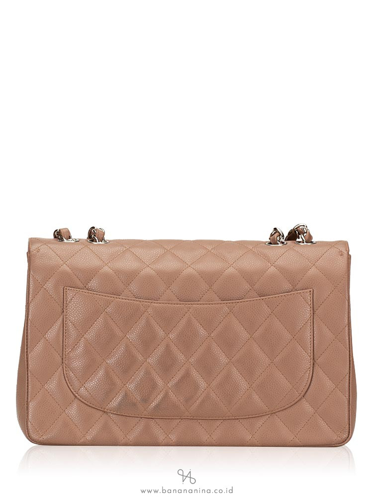 CHANEL Caviar Quilted Jumbo Classic Flap Bag Taupe