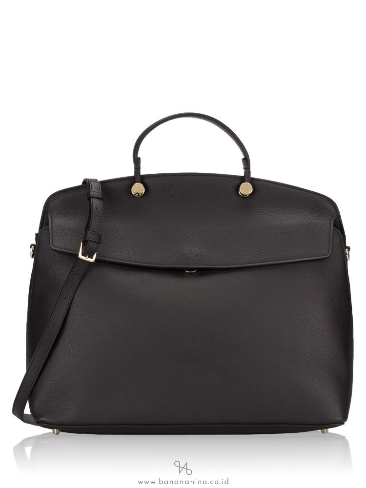 FURLA My Piper Leather Large Top Handle Onyx