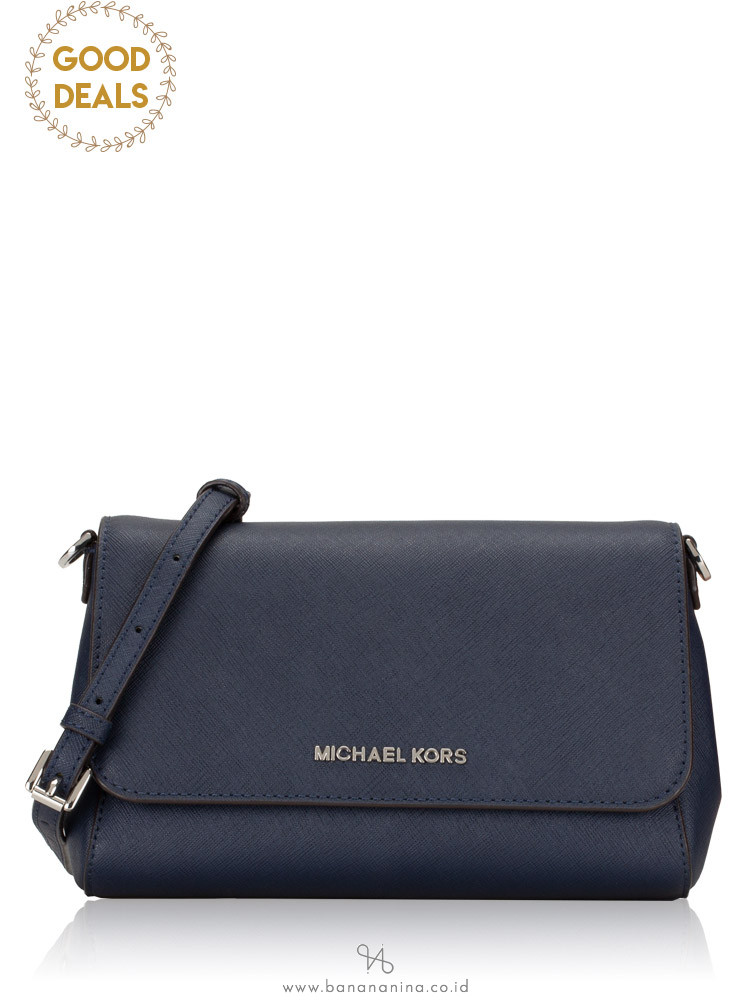 MICHAEL KORS Jet Set Item Medium Saffiano Pouchette Crossbody Navy