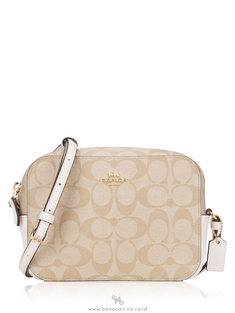 COACH 91677 Signature Mini Camera Bag Light Khaki Chalk