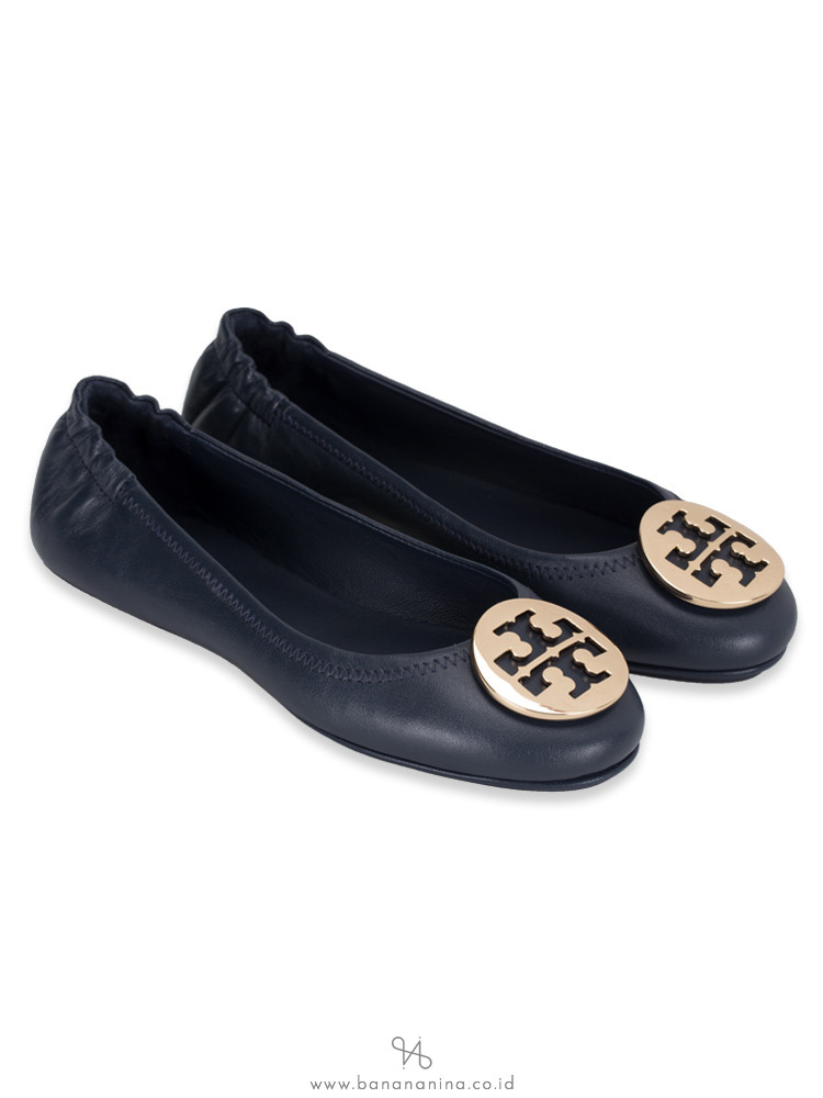 TORY BURCH Minnie Travel Flats Ink Navy Gold Sz 6