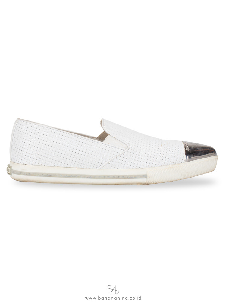 MIU MIU Cap Toe Perforated Leather Sneaker White Sz 40