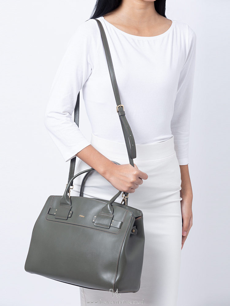 FURLA Lucky Leather Medium Tote Army