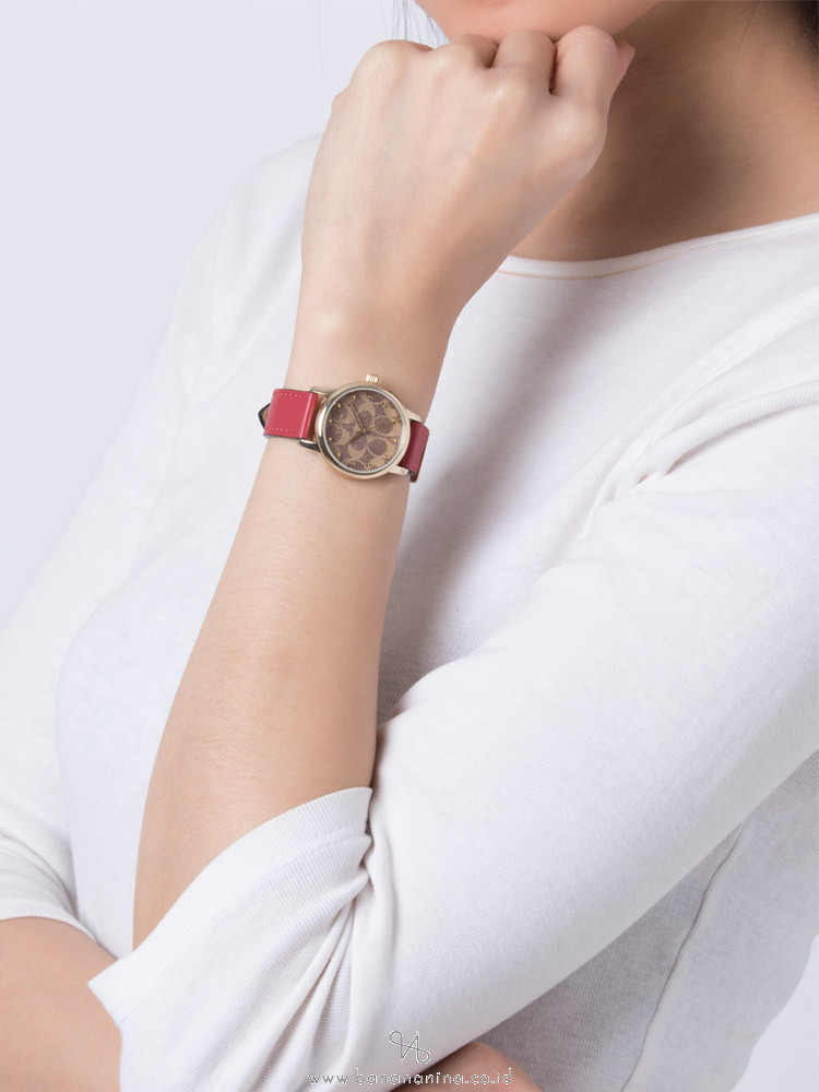 COACH 14503401 Grand Leather Strap Watch Red