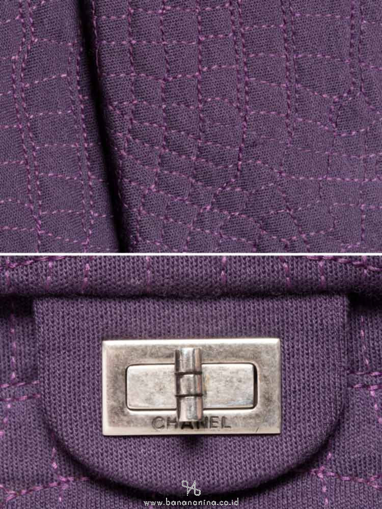 CHANEL Croc Embroidered Jersey Reissue Classic 225 Flap Bag Purple
