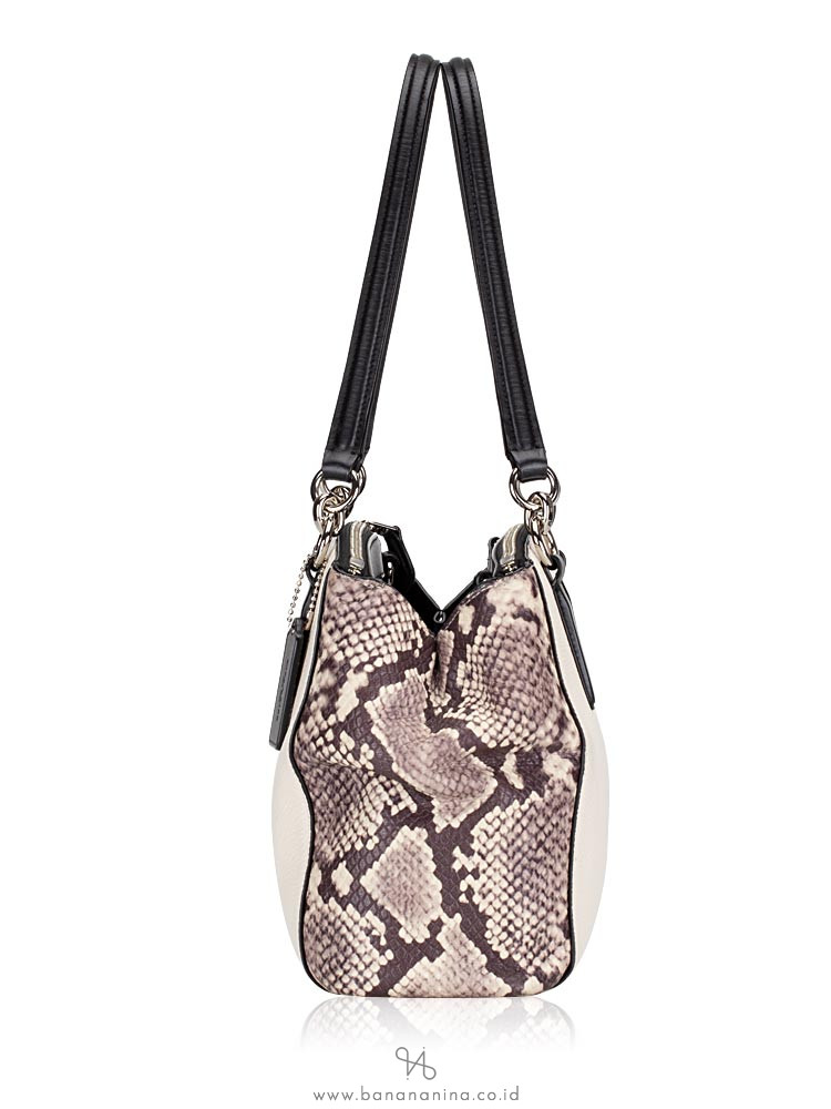COACH 57507 Mixed Leather Small Christie Chalk Multi
