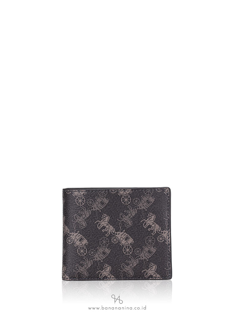 COACH Men 570 Horse And Carriage Print ID Billfold Wallet Black Multi
