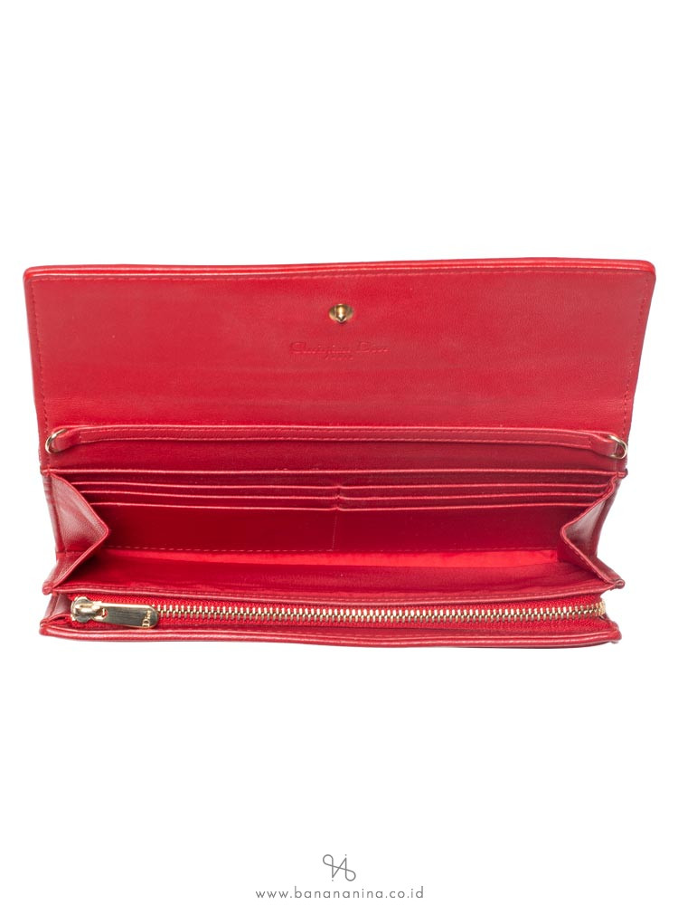 CHRISTIAN DIOR Cannage Rendezvous Chain Wallet Red