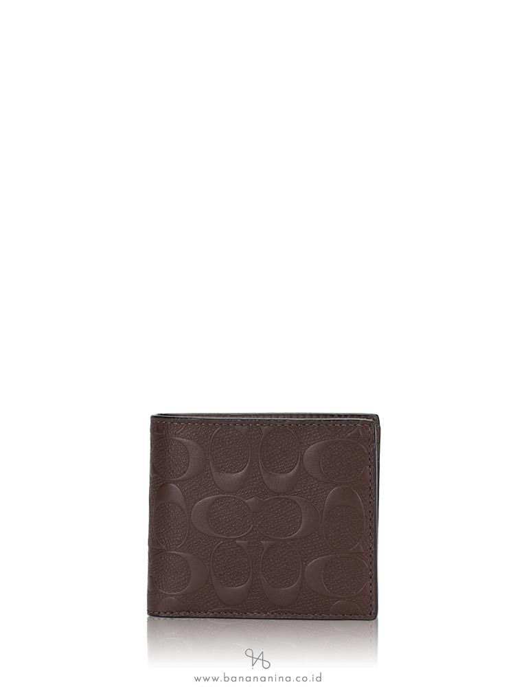 COACH Men 75371 Compact ID Embossed Leather Wallet Mahogany
