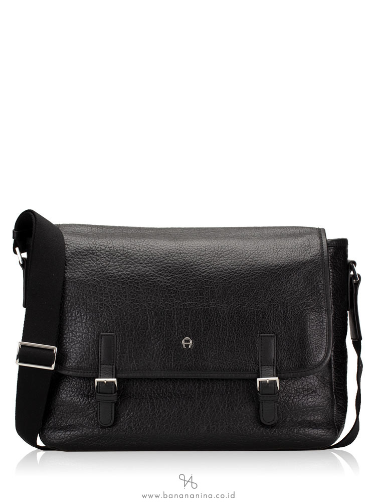 AIGNER Men Leather Messenger Black