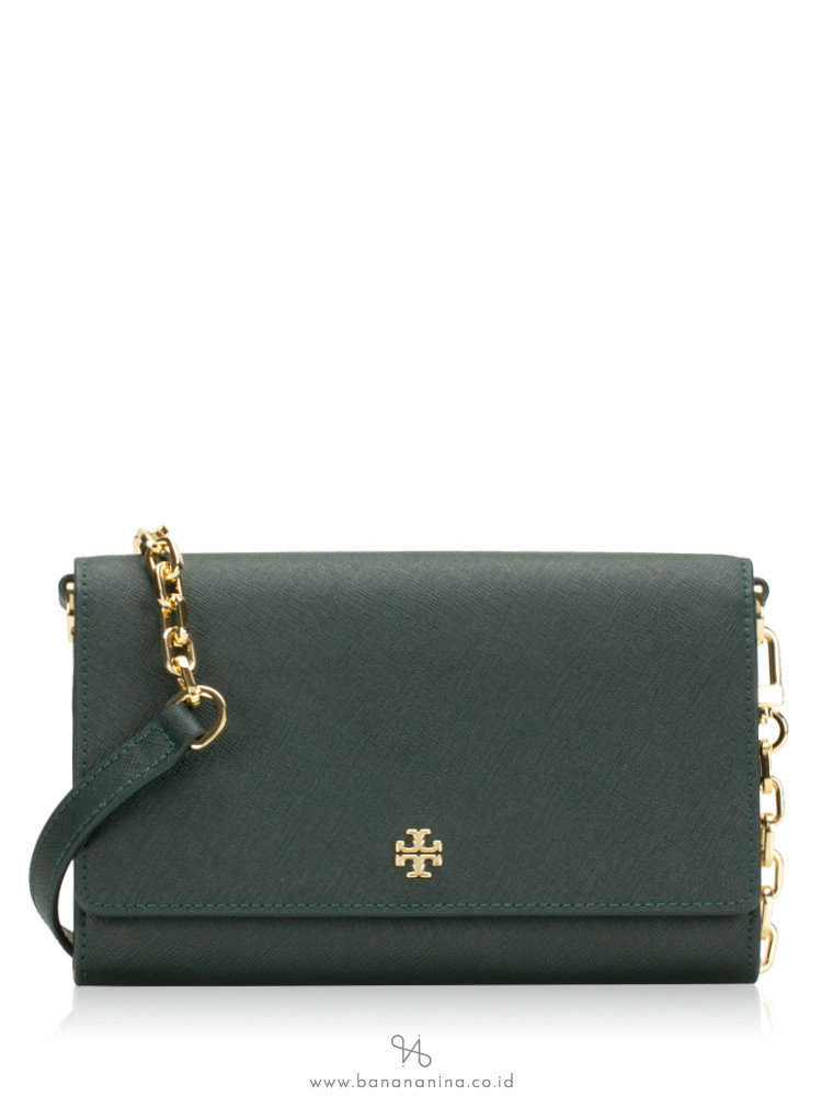 TORY BURCH Emerson Chain Wallet Jitney Green