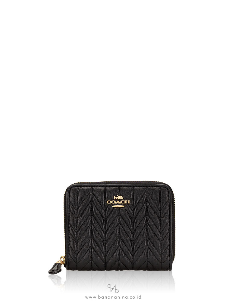 COACH 73393 Quilting Leather Small Zip Wallet Black