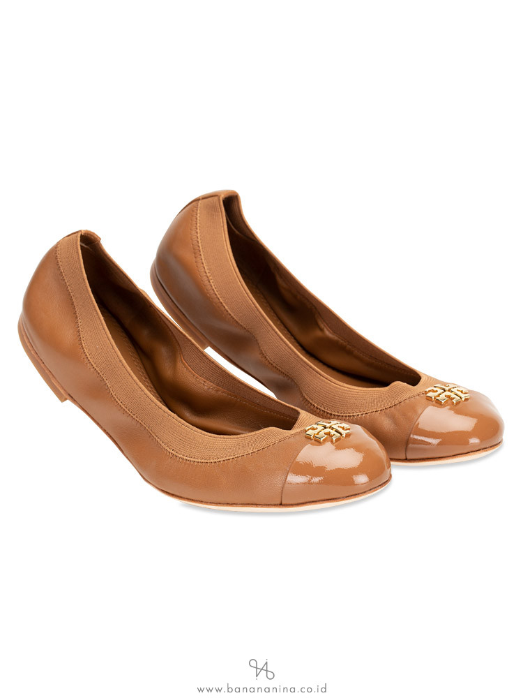TORY BURCH Jolie Leather Flats Royal Tan Sz 8