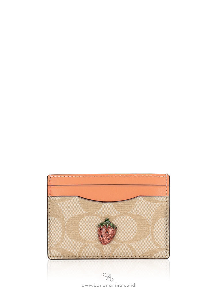 COACH 73079 Signature With Fruit Card Case Light Khaki Coral